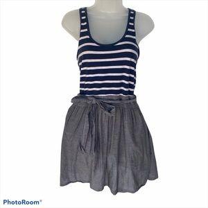 Abercrombie & Fitch Belted Dress Navy Grey Stripe